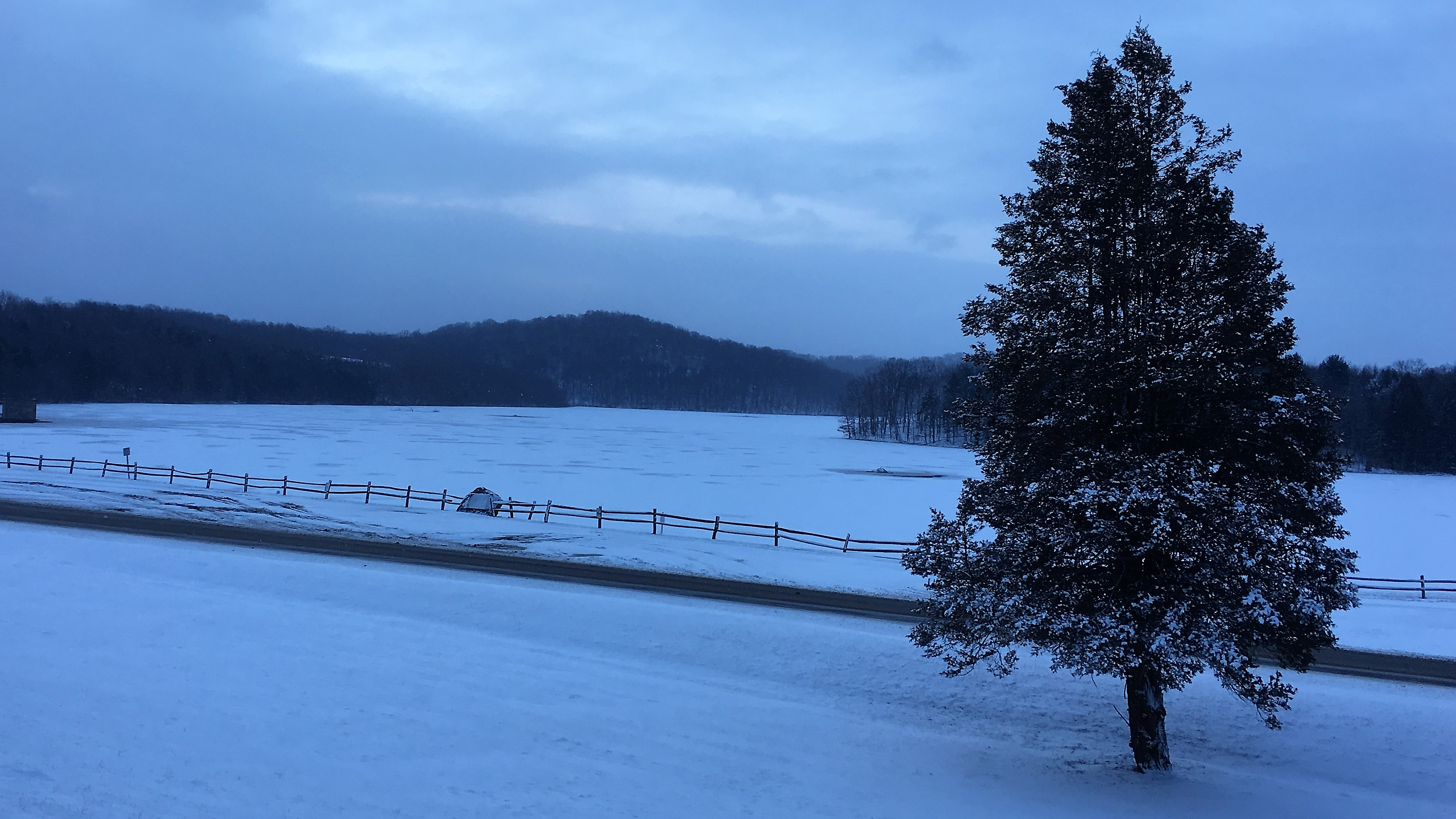 View of a frozen Beaver Run Reservoir earlier this year.